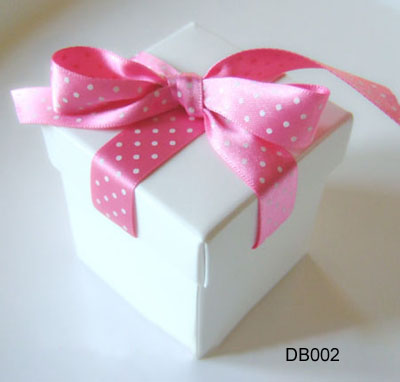 White Wedding Candy Box with Ribbon
